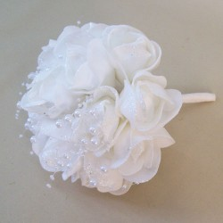 Foam Roses Wedding Posy White with Glitter and Pearls - R679 S2