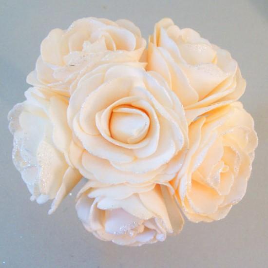 Foam Roses Wedding Posy with Glitter Summer Melon - R680 U3