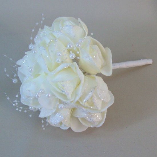 Foam Roses Wedding Posy Cream with Glitter and Pearls - R678 S2