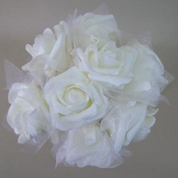 Foam Roses with Tulle Posy Cream Small - R409 U2