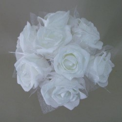 Foam Roses with Tulle Posy White Small - R407 U3