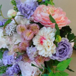 Longlands Faux Flowers Wedding Bouquet Bride Pink Lavender - LON021