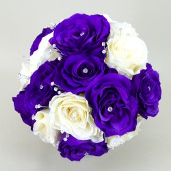 Purple And Cream Rose Wedding Bouquet - ADEC07