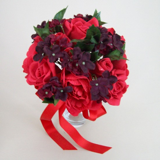 Artificial Flowers Vintage Wedding Bouquet Red and Burgundy - BA006 B1