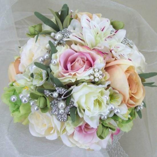 Artificial Flowers Vintage Wedding Brooch Bouquet Summer Sparkle - ABB001
