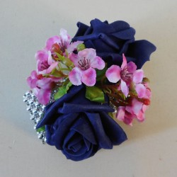 Flower Bracelet with Navy Blue Roses and Pink Flowers - WCOR002