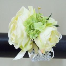 Rose Wrist Corsage Cream Green - WCOR005