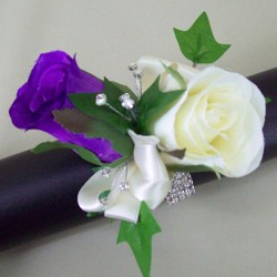Rose and Diamante Wrist Corsage - WCOR026