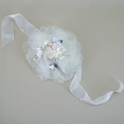 Wrist Corsage or Choker - Large Ivory Gossamer Flower and Pearl Blossom  - ABC014 BX7