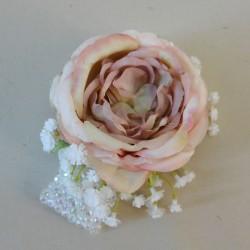 Flower Bracelet with Vintage Pink Rose and Gypsophilla - WCOR001