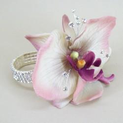 Wrist Corsage Vintage Purple Orchid and Diamante - WCOR003