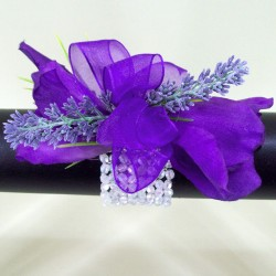 Wrist Corsage Purple Lisianthus and Lavender - WCOR015