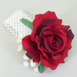 Wrist Corsage Red Silk Rose - WCOR014