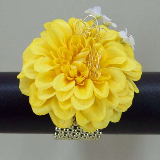 Wrist Corsage Yellow Zinnia - WCOR004